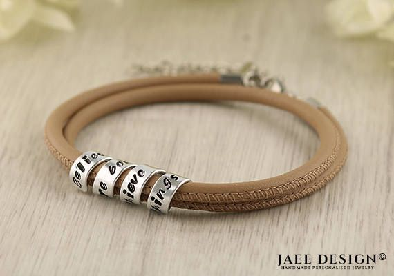 Anniversary gift Leather bracelet Custom jewelry Hand Stamped Secret message Personalized Spiral Scroll Bracelet Mothers day Friendship gift by Jaeedesign on Etsy https://www.etsy.com/listing/508574388/anniversary-gift-leather-bracelet-custom