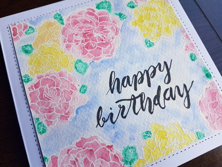 This is the first birthday card I have made using both my stamp designs with my new hobby I am learning, Brush Lettering. I attended a Brush Lettering workshop a couple of weeks ago at Tea and Crafting. The pen I used for the lettering was a Kuretake UK Bimoji Medium pen. I stamped the roses and then heat embossed with Opaque White WOW! Embossing Powder. I used Daler-Rowney watercolours to colour-in the flowers.  The stamp I used is my Designs by Georgina Rose Corner stamp.