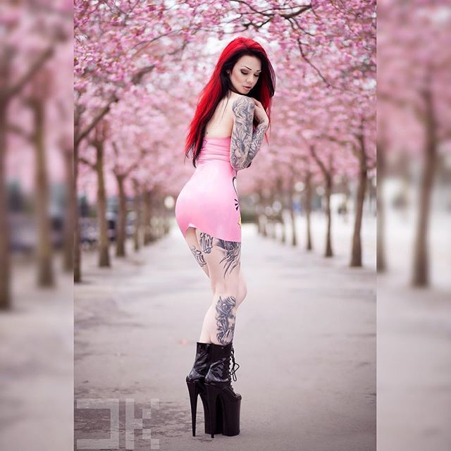 It doesen't get much prettier than this All that pink  Photographer: @danielkopp_photo Dress: @pandoradeluxe #latex #rubber #dress #fetishmodel #latexmodel #pink #cherryblossom #flowers #spring #redhair #highheels #heels #boots #pleaser #piercings #alternative #altgirl #tattoomodel #tattoos #inked #girlswithink #sleeve #legtattoo #inkedbabes #armtattoo #thightattoo #girl #model #starfucked
