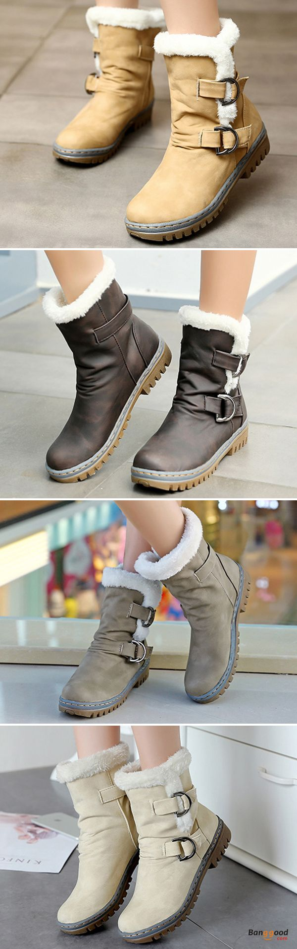 US$40.99 + Free shipping. Size: 5-12. Color: Beige, Yellow Brown, Army Green. Fall in love with casual and elegant style! US Size 5-12 Women Fur Lining Keep Warm Buckle Cotton Snow Boots.