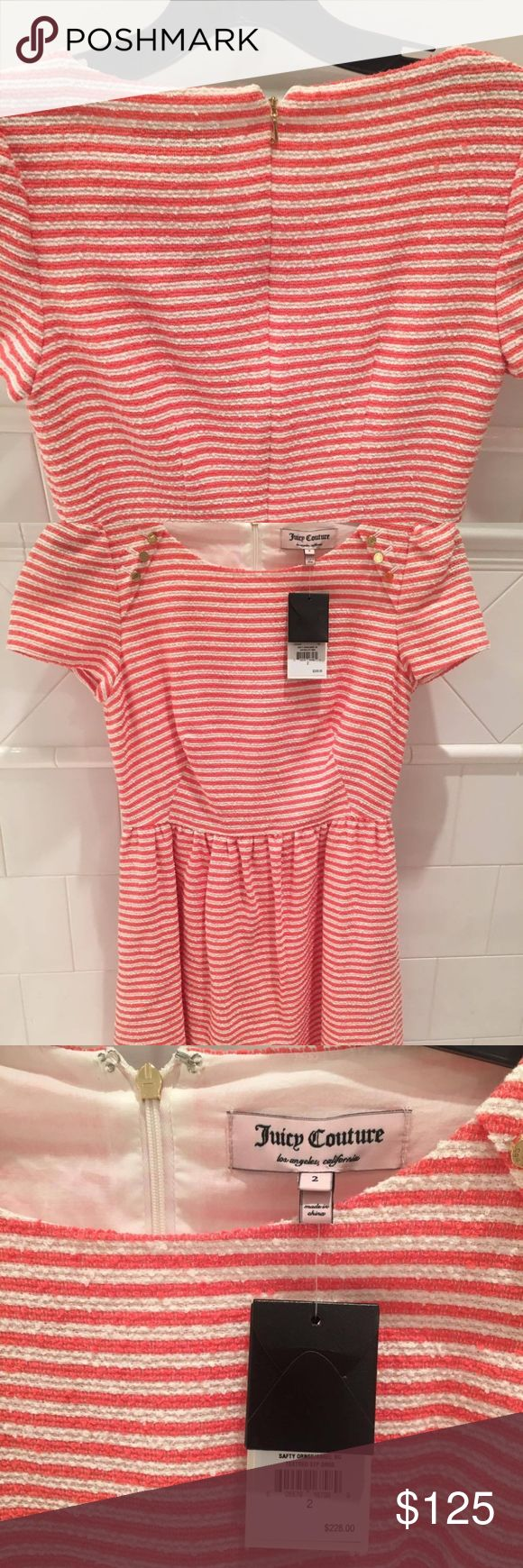 Juicy Couture Striped/Sparkly dress in size 2 striped dress size 2 from a few years back,  NEVER worn before & has tags on it still. Cute gold button detailing. Juicy Couture Dresses Mini