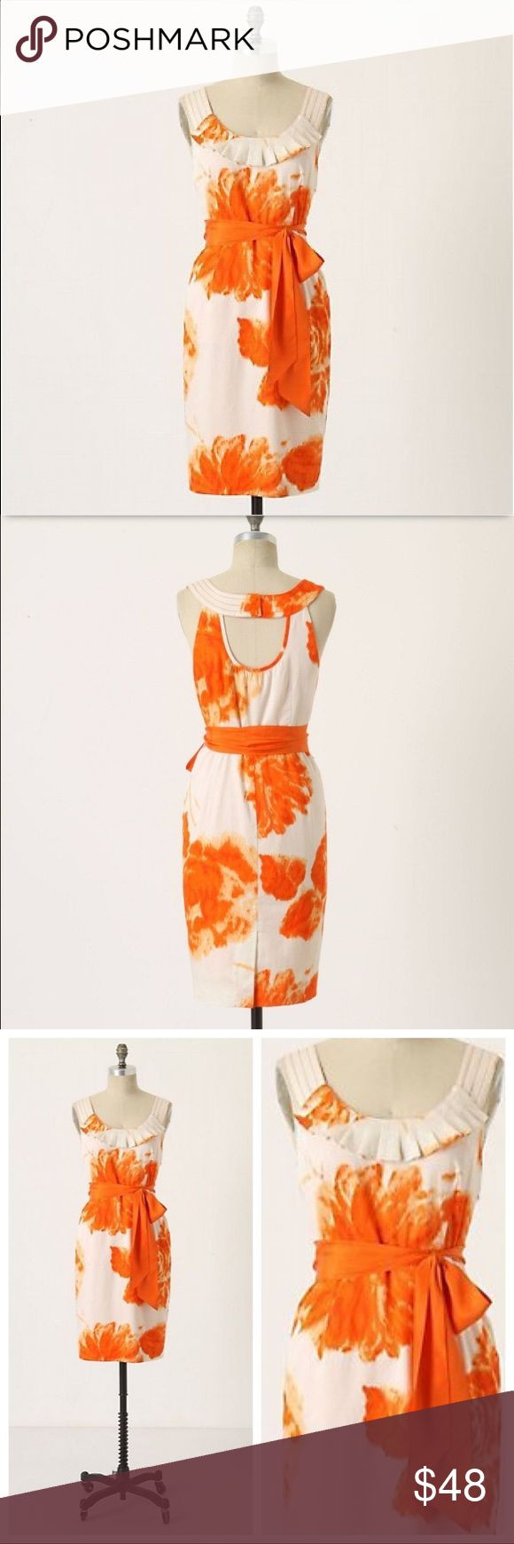 Moulinette Soeurs Orange Blossom Dress - No Sash Floral, open back sheath Anthropologie dress by Moulinette Soeurs. Features orange floral watercolor print on off white dress; scoop neck with ruffle bib; cut out back detail; pencil skirt with pockets; hidden side zip; 2 flower buttons on back neck; fully lined w/lace hem slip; Shell 100% cotton; lining 100% Acetate; back slit. NO SASH included but belt loops are still attached to add your own sash. See last photo. Approx. flat measurements…