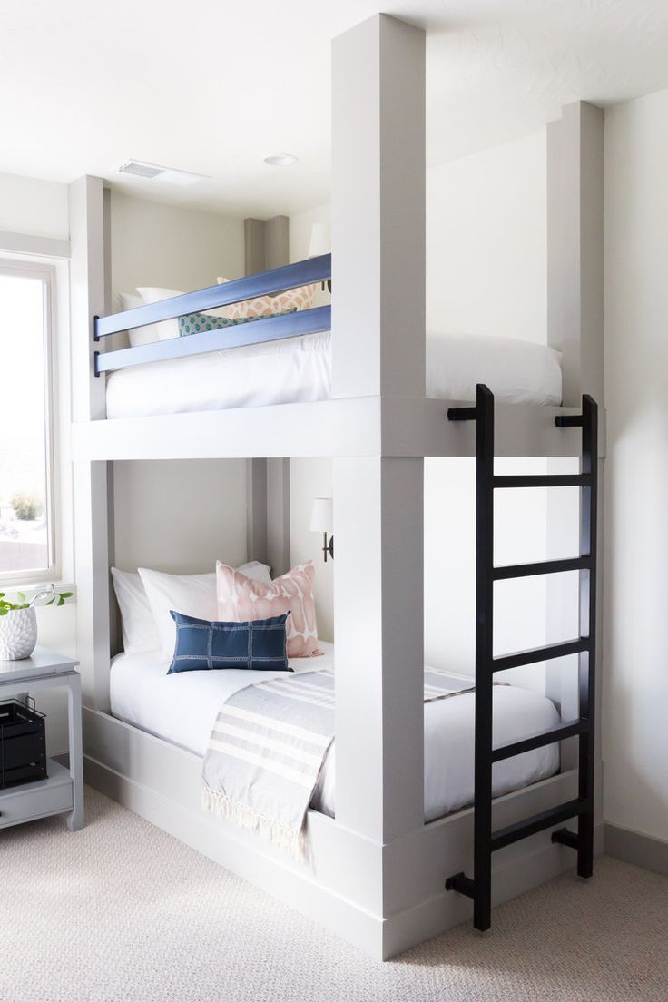 Light Grey Wood Bunk Bed Metal Ladder Navy And Blush Accents