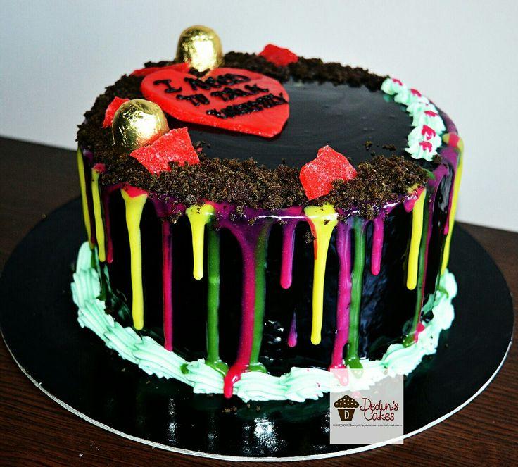 Black velvet cake with shiny ganache