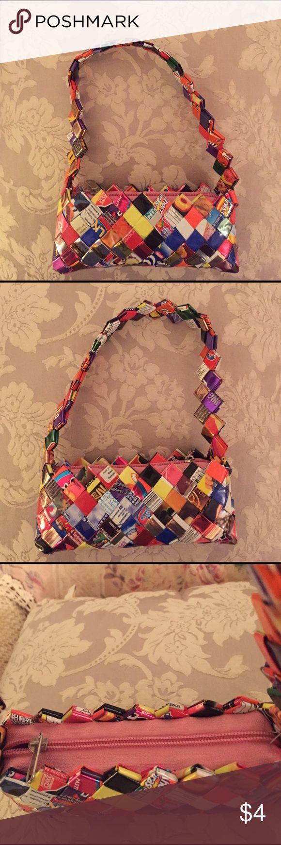 Candy wrapper mini bag Cute mini bag made out of candy wrappers Bags Mini Bags