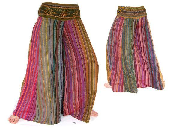 Pantalones Hippie, falda-pantalón, 100% algodón