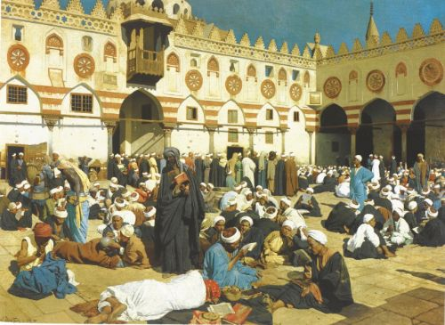Ludwig Deutsch, The Courtyard of Al-Azhar University, 1890, Private Collection