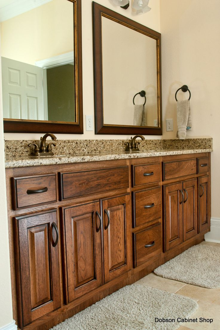 hickory kitchen cabinets with glaze | Medium Hickory Vanity