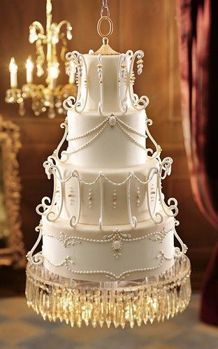 Wedding ● Cake ● inspiration from a vintage chandelier & floats above suspended from the ceiling!