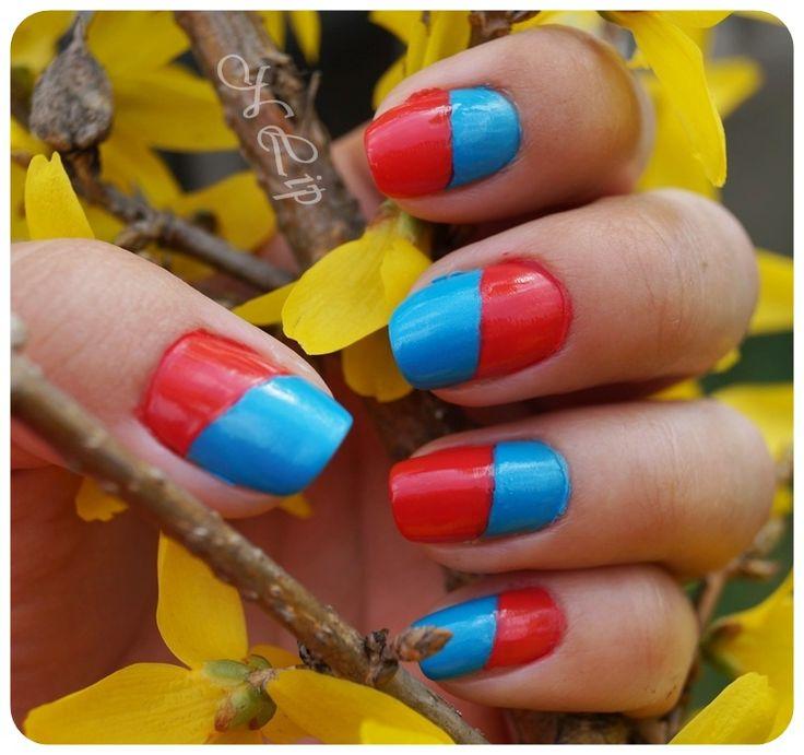"""natalia-lily: Beauty Blog: WIBO, """"Na skos"""": czerwono-niebieskie paznokcie"""