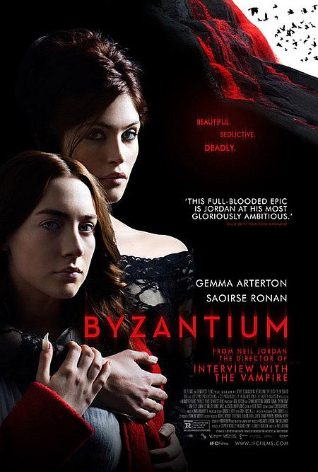 Byzantium (2012)- Directed by Neil Jordan, who also directed Interview With the Vampire. This movie is a little slow, but charming. The slight variations on the traditional vampire myth aren't alarming, but sensible. Stylish scenes and scenery. Nothing mindblowing, but better than a few I've seen recently.