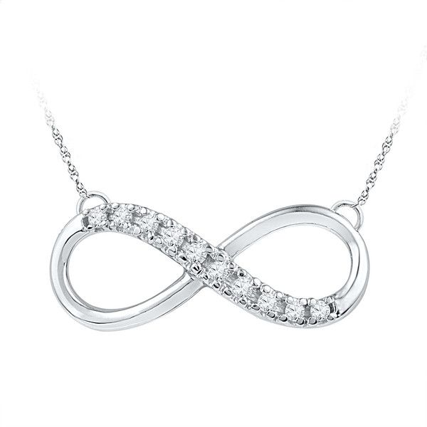 0.10ctw Diamond Infinity Necklace ($224) ❤ liked on Polyvore featuring jewelry, necklaces, gold, gold tone necklace, white diamond necklace, white jewelry, infinity jewelry and diamond jewellery