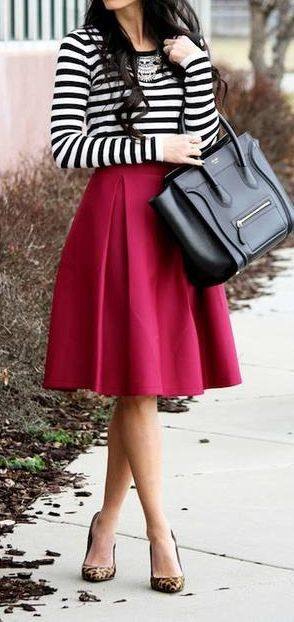 Spring 2015 Burgundy skirt + stripes outfit. Lovely black leather bag completes this spring look very well.
