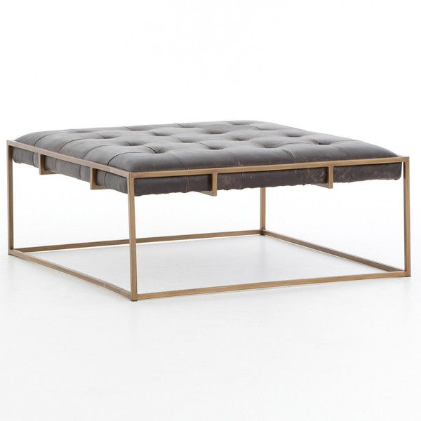Linton Tufted Square Coffee Table (6,105 ILS) ❤ Liked On Polyvore Featuring  Home,