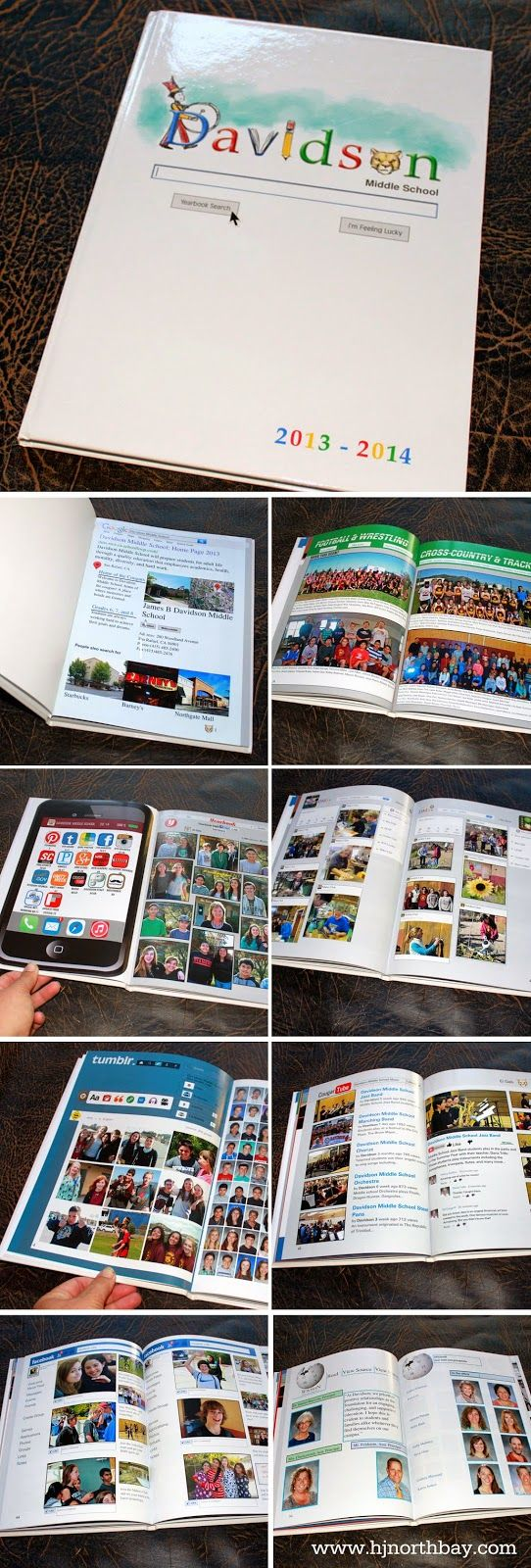 Internet social media yearbook theme with a fun google doodle on the cover