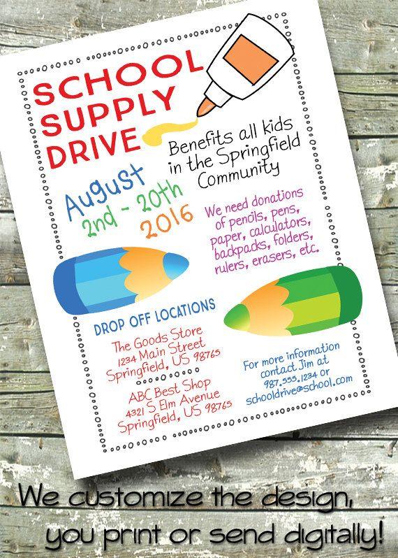 School Supply Drive  BACK TO SCHOOL  5x7 Invite  by DitDitDigital