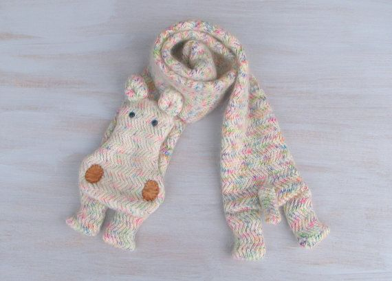 Woolen hippo  long animal scarf hippo white with by Florfanka