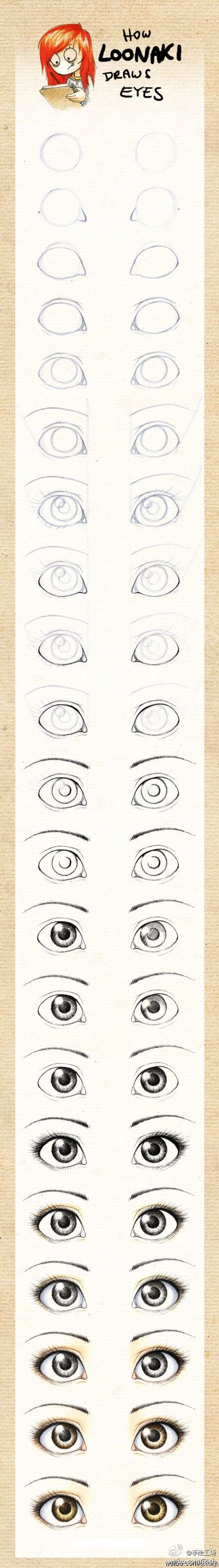 How to draw eyes, step by step.