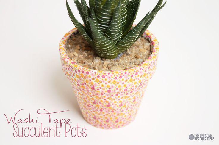 Washi Tape Succulent Pots via thecreativeheadquarters.com #washitape #spring #crafts