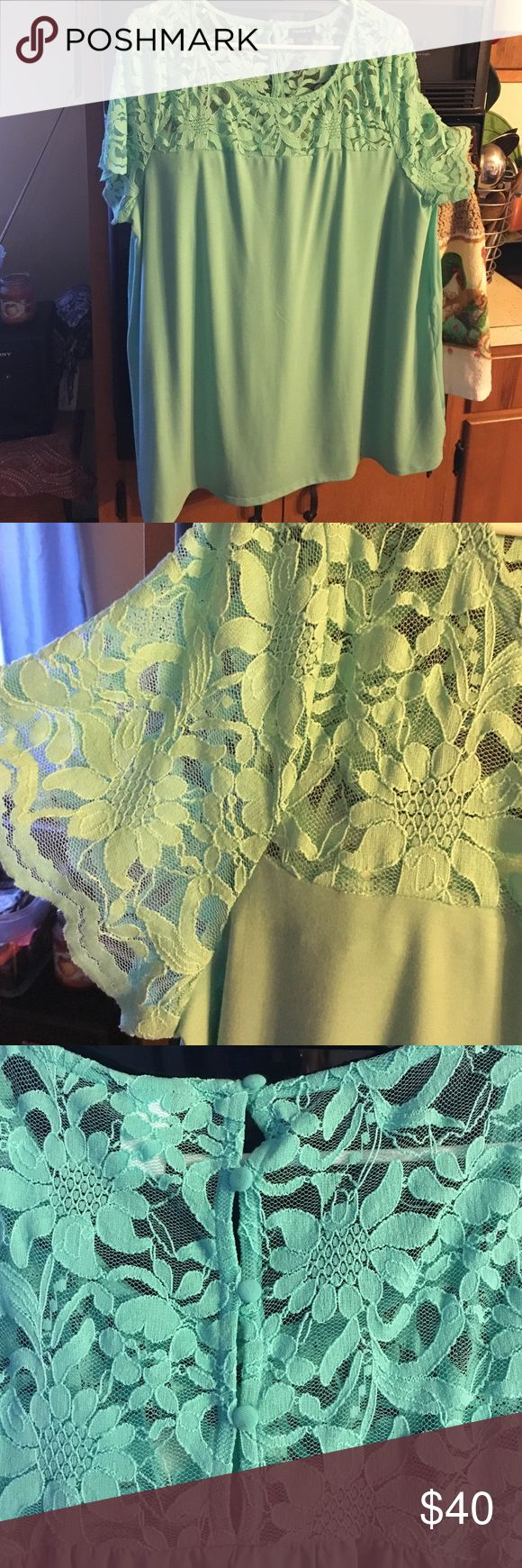 Mint green shirt Mint green shirt with lace shirt sleeves. Never worn. Back has four buttons. torrid Tops