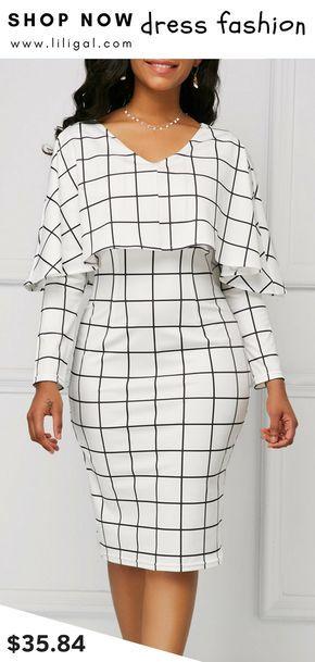 8269e564c5c USD35.84 Grid Print White V Neck Cape Sheath Dress  liligal  dresses ...