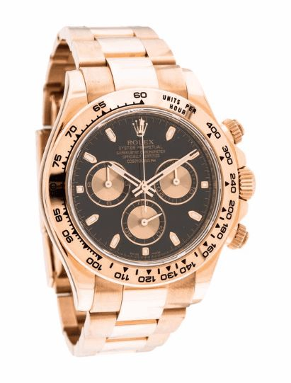 ROLEX COSMOGRAPH DAYTONA WATCH $22,995.00 READY TO SHIP 18K rose gold 40mm Rolex Daytona watch featuring an automatic movement with chronograph complication, engraved bezel, flat black dial, Oyster bracelet and deployant closure. Includes box and warranty. Sizing: This watch can be made smaller by removing links, and in most cases, made larger by purchasing additional links from an authorized retailer. Buckle: The fit of this watch can be made larger or smaller by adjusting the buckle. Watch…