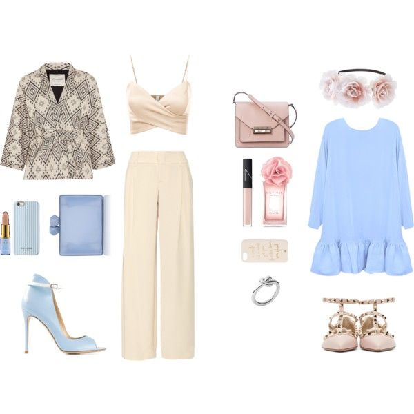 blue and beige 3 & 4 by hypeway on Polyvore featuring mode, Cynthia Rowley, J.TOMSON, Madewell, Alice + Olivia, Valentino, Gianvito Rossi, French Connection, Coast and Michael Kors