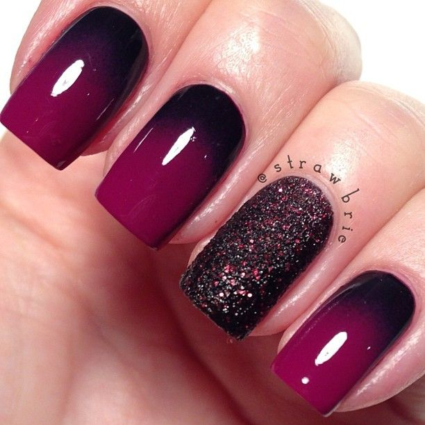 ombre burgundy and black