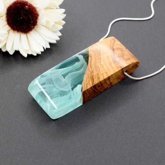 Wood Resin Pendant, Statement Jewelry, Unique Necklace, Resin Pendant, Hippie…
