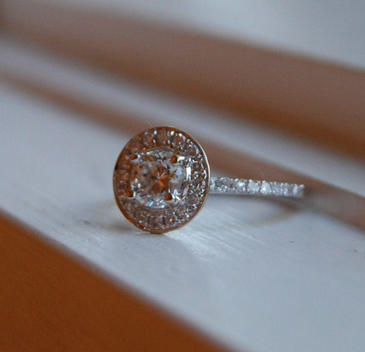 Perfect Engagement ring Diamond ring ct D VS White gold halo diamond ring