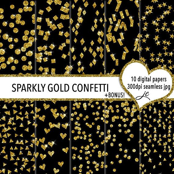 Sparkly Gold Confetti Digital Papers  BONUS Photoshop Pattern
