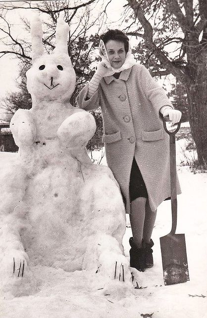"+~+~ Vintage Photograph ~+~+ ""Mama and her snowbunny"""