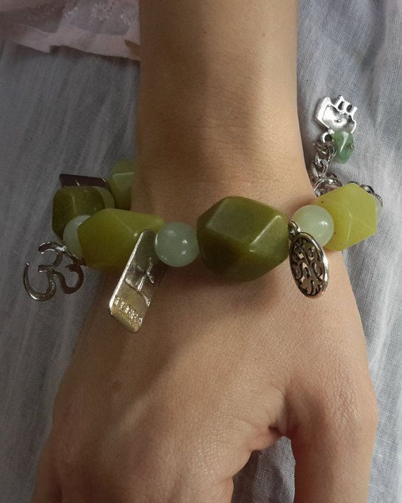 Bracelet with jade stones large and small sizes, varying metal pendants and lobster clasp - pulseira de jade verde - boho - gypsy - bohemian