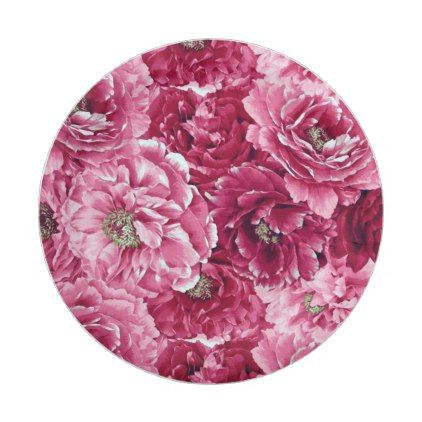 Classic Pink Peonies Clusters Floral Paper Plates - kitchen gifts diy ideas decor special unique individual customized