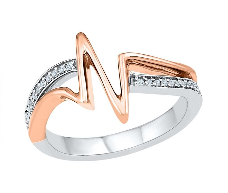 Ben Moss - Silver and Rose Gold Heart Beat Ring