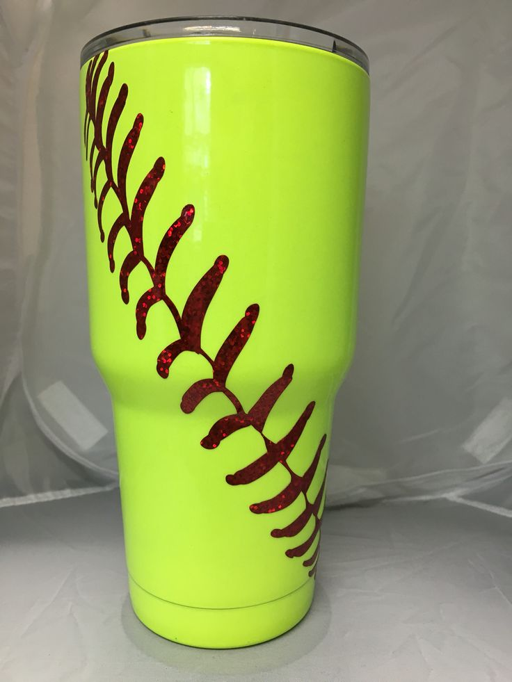 Blue Jubilee 30oz ~ Ozark Cup ~ Powder Coated Neon Yellow ~ Vinyl Laces ~ Fastpitch Softball