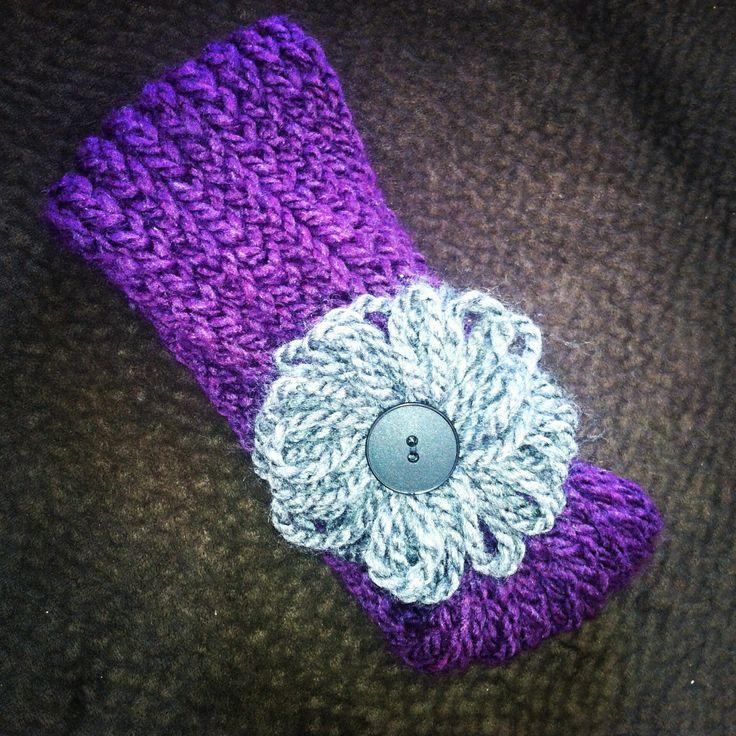 Loom knitting -ear warmer headband. Purple with gray flower, black button K...