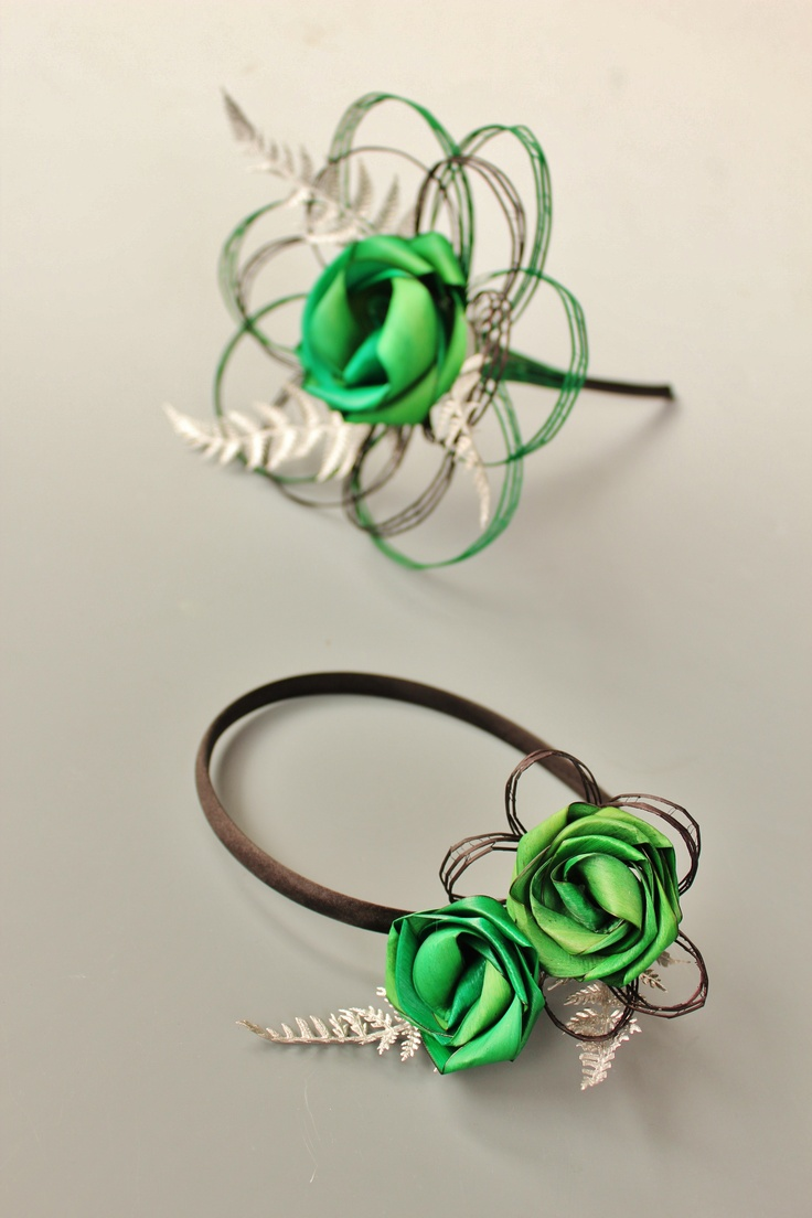 Flower girls wand and headband both with silver fern and bright green flax flowers.  www.flaxation.co.nz