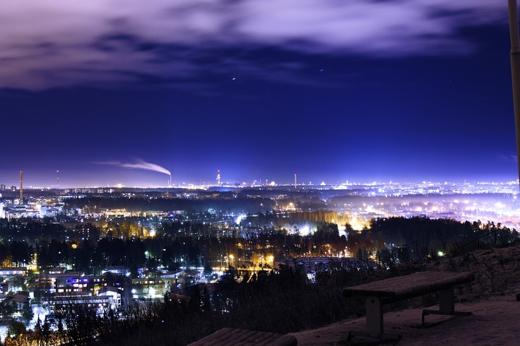 A night view over Helsinki from Malminkartano Hill