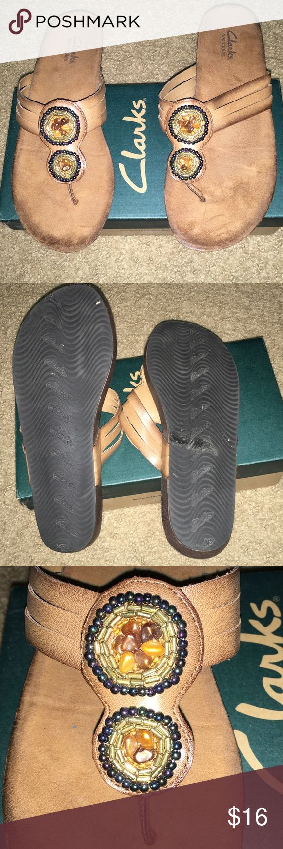 Clarks Sandals Clarks Bendables brown sandals with embellishments.   Worn only once!    ****LOWEST PRICE*** Clarks Shoes Sandals