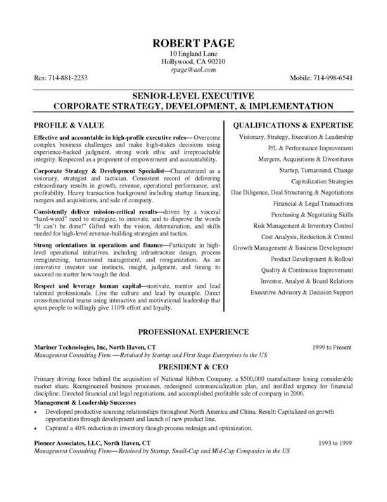 executive vice president resume examples