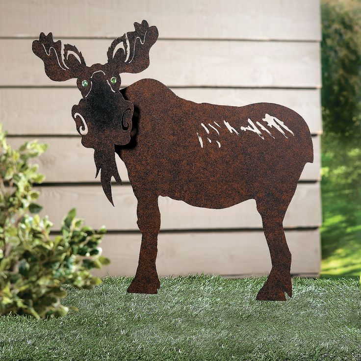 Moose Yard Stake With Marble Eyes Standing Guard Its Gazing Forward Our Lends A Helping Hand To Your Outdoor Décor