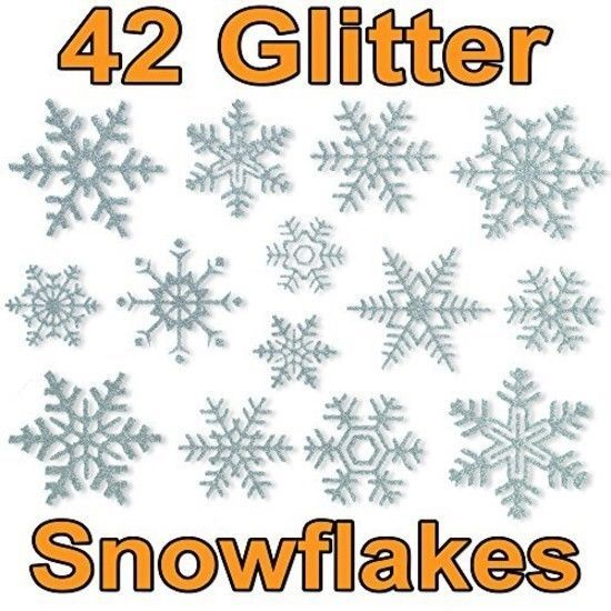 42 Glitter Snowflake Window Clings by Articlings - Quick Simple Christmas Decora