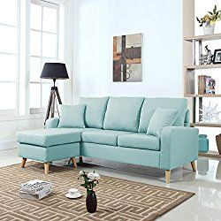 Nice Mid Century Modern Linen Fabric Small Space Sectional Sofa with Reversible Chaise Light Blue