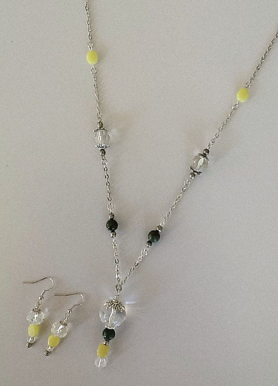 Crystal Ball Bead Drop with Yellow Jade and by PebblesAndTwiggs