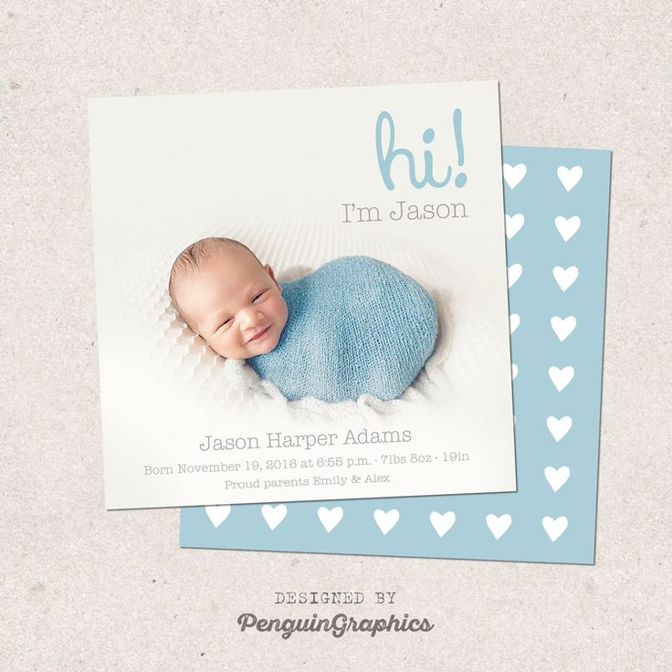 Birth announcement card. Personalized baby boy birth card. Custom newborn announcement card made to order. Digital file 5x5 inches. by PenguinGraphics on Etsy