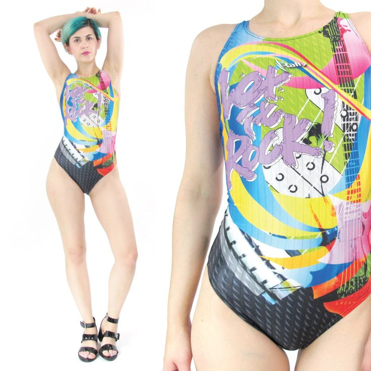 New to honeymoonmuse on Etsy: 50% OFF SALE 90s One Piece Swimsuit Neon Graphic Digital Print Sporty Swimsuit Rave Club Kid Swim Cut Out Back Petites (Xxs/XS) (30.00 CAD)