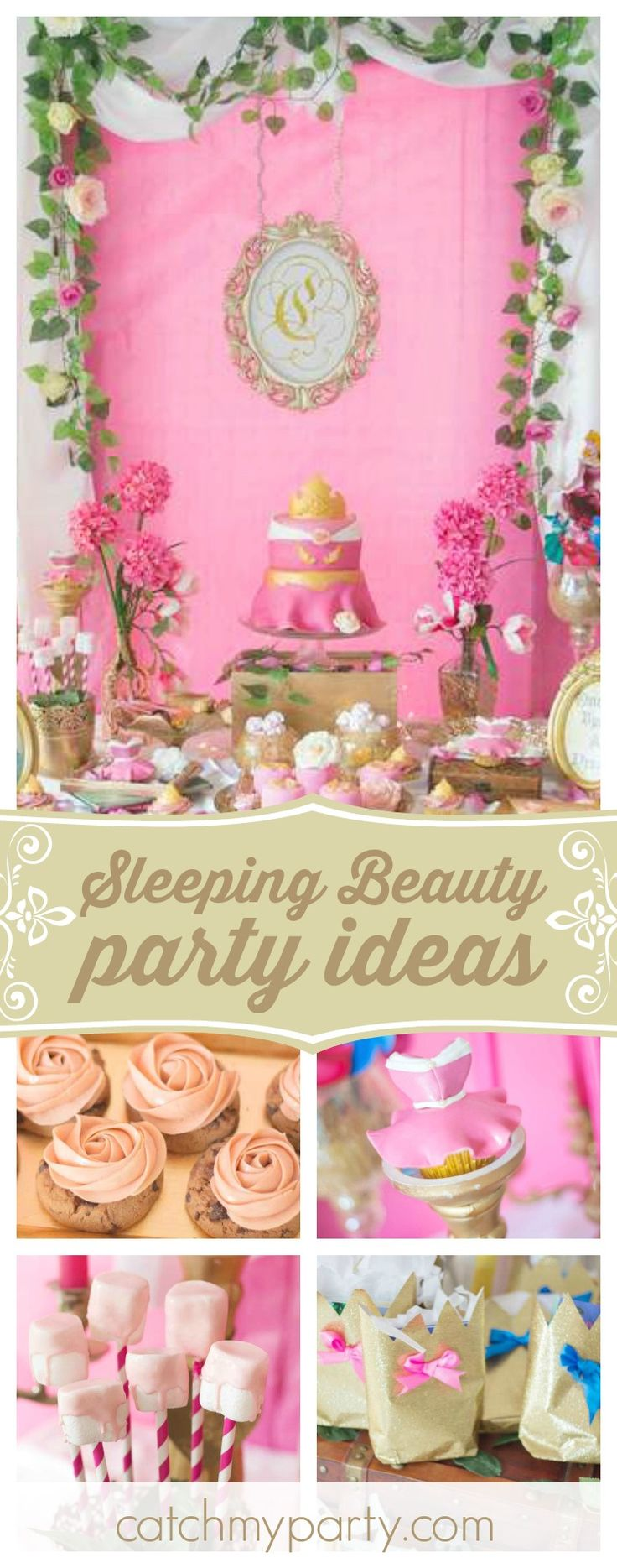 What a gorgeous Sleeping Beauty birthday party! The dessert table is so beautiful!! See more party ideas and share yours at CatchMyParty.com