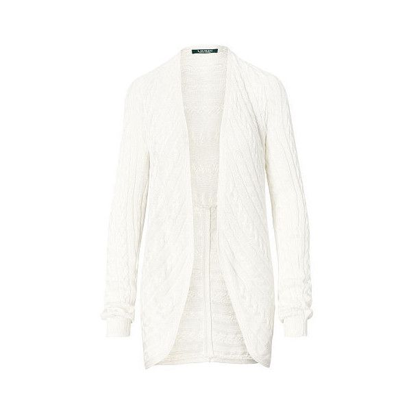 Ralph Lauren Lauren Cable-Knit Open-Front Cardigan ($80) ❤ liked on Polyvore featuring tops, cardigans, long sleeve tops, open front cardigan, cable knit cardigan, long cable knit cardigan and long white cardigan