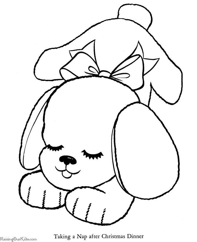 christmas dog a free printable coloring page